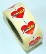 A new marketing label - I Love Subway lapel sticker.