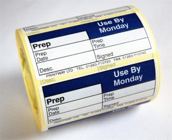 Blank (Prep day blank) label - use by Monday