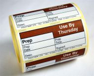 Blank (Prep day blank) label - use by Thursday