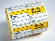 Blank (Prep day blank) label - use by Tuesday
