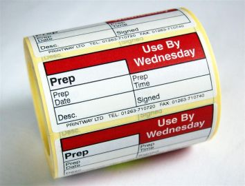 Blank (Prep day blank) label - use by Wednesday