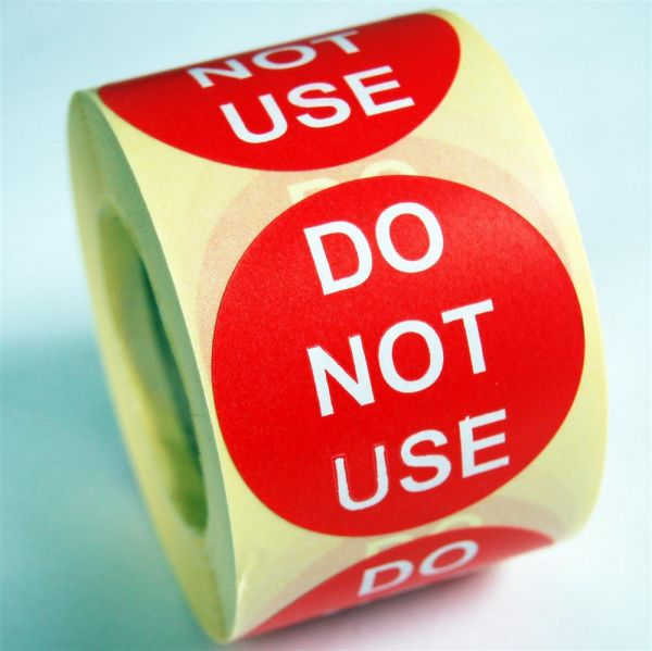 Do Not Use Labels Soluble Adhesive
