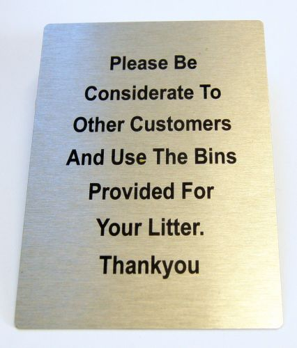 "Generic Aluminium ""Please Use The Bins"" Sign (100 x 140mm)"