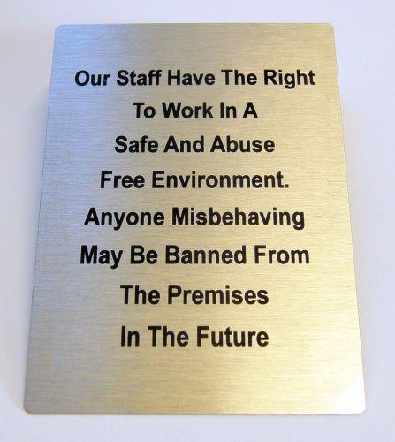 "Generic Aluminium ""Staff Rights"" Sign (100x140mm)"