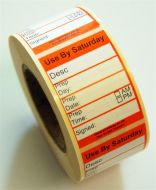 Peelable Midi Food Preparation Label - Saturday